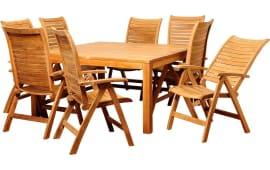 27% International Home InteriorsAmazonia Teak Donovan Square Patio Dining  Set (9 PC) Part 58