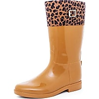 951817bbc60aaa marimo damen gummistiefel regen garten boots hochschaft mit leoparden  muster camel 36
