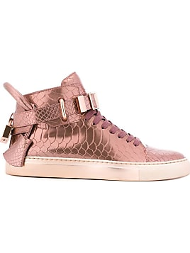 Buscemi Woman Embellished Metallic Snake-effect Leather High-top Sneakers Rose Gold Size 36 Buscemi cy0zmjN