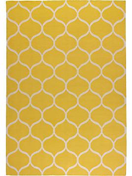 STOCKHOLM, Teppich Flach Gewebt, Netzmuster Handarbeit, Gelb