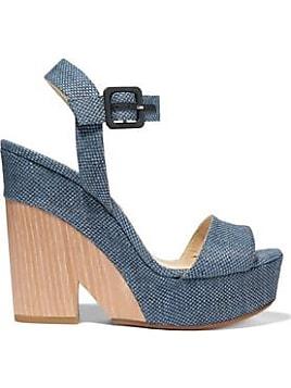 Jimmy Choo Woman Kathleen Metallic-trimmed Suede Platform Sandals Indigo Size 36.5 Jimmy Choo London