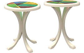 Bella Loco Pair Of European Modern Lacquered White, Colored Stained Glass  Round Sidetables