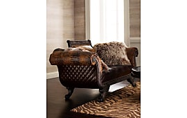 old hickory tannery shaggy leather settee - Old Hickory Furniture