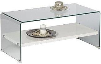 Alfa Tische M1784 Couchtisch Casio 100 X 50 Cm Geformtes Glas Mit Ablageboden