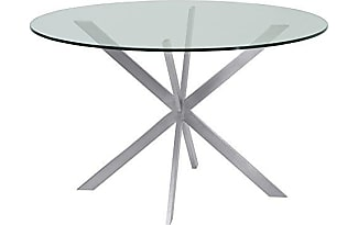 Armen Living LCMYDITOCLEAR Mystere Dining Table With N/A And Brushed  Stainless Steel Finish