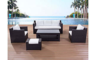Beliani Contemporary Outdoor Sofa Set   Resin Wicker Patio Furniture   ROMA