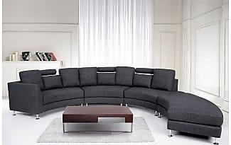 Interesting Beliani Modern Round Sectional Sofa In Fabric Rotunde Dark Grey  With Sofaecke Grau