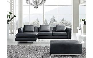 Finest Beliani Sectional Sofa With Ottoman R Black Leather Oslo With Sofa  Schwarz Leder