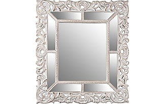 belssia espejo barroco biselado madera blanco y plateado 90x4x104 cm - Espejos Plateados