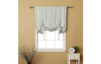 Best Home Fashion Textured Faux Linen Bordered Heavyweight Tie Up Curtain    Rod Pocket