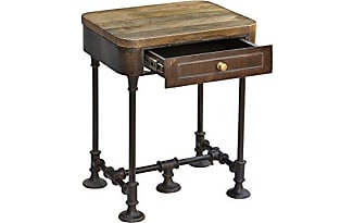 CDI Furniture The Post Collection Antique Style Mango Wood Side Table With  Tobacco Finish And Drawer