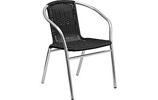 Flash Furniture Aluminum And Rattan Chair Aluminum, Black