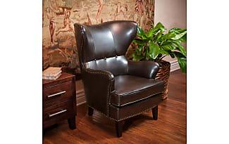 GDF Studio Romford Brown Leather Wingback Club Chair