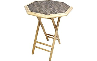 Heather Ann Creations Bamboo Octagon Folding Bistro Table With Diamond  Weave Top, 30 Inch