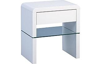 HomeTrends4You Nina Beistelltisch/Nachttisch, Holz, MDF Weiß Hochglanz, 50  X 35 X