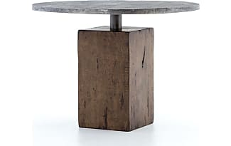 Industrial Loft Furniture Boomer Rustic Industrial Wood Block Pedestal  Bistro Table 42