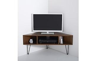 Tv meubel in woonkamer. hout hoek design tv meubel televisie staat