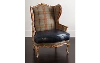 Massoud Sienna Blue Leather Wing Chair
