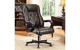 Office Star Chapman Executive Chair With Thick Padded Espresso Eco Leather  Seat And Back