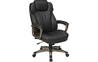 Office Star Executive Eco Leather Chair With Padded Arms, Adjustable  Headrest, And Cocoa Coated