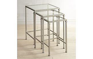 Pier 1 Imports Lincoln Brushed Silver Tempered Glass Nesting Tables