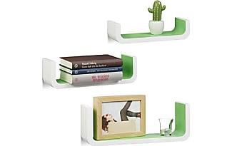 relaxdays juego de estantes de pared madera blanco y verde 10x395x14 - Estantes De Pared