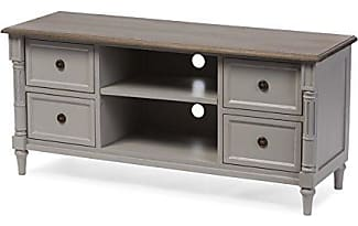 Wholesale Interiors Baxton Furniture Studios Edouard French Provincial Style Distressed Two Tone 4 Drawer TV Cabinet