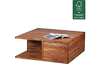 WOHNLING Couchtisch Massiv Holz Sheesham 88 Cm Breit Wohnzimmer Tisch Design Dunkel Braun