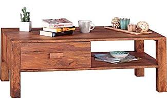 WOHNLING Couchtisch Massivholz Sheesham Design Wohnzimmer Tisch 110 X 60 Cm 1 Schublade Landhaus