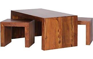 WOHNLING Couchtisch Mit Hocker Massiv Holz Sheesham 110cm Breit Wohnzimmer Tisch Dunkel Braun