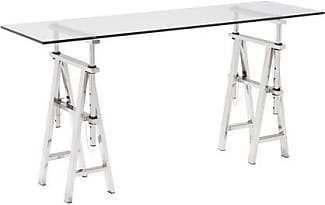 Zuo 100360 Lado Collection 60 Console Table With Tempered Glass Top  Saw Horse Base Design
