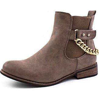 Trendige Damen Chelsea Boots mit Kette Camel 36 Marimo oGpcgn