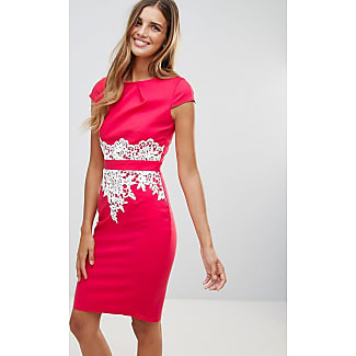 Paper dolls coral cap sleeve black lace panel shift dress