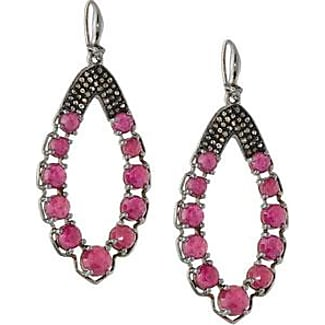 Bavna Moonstone & Glass Ruby Drop Earrings