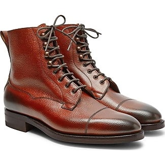 Edward Green Galway Cap-toe Textured-leather Boots - Brick