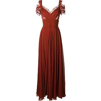 Elie Saab Vestido de seda com renda - Vermelho