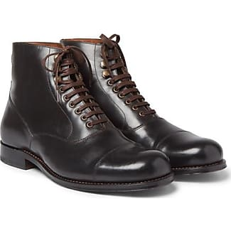 Grenson Leander Cap-toe Leather Boots - Dark brown