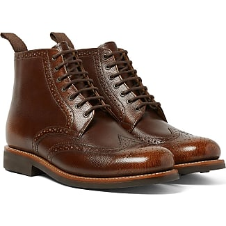 Grenson Sharp Burnished Pebble-grain Leather Brogue Boots - Brown