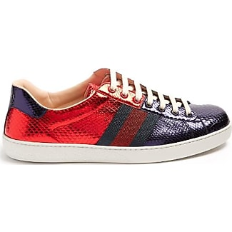 Gucci Baskets en peau de serpent bicolores