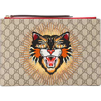 gucci clutch. gucci angry cat gg supreme clutch - nude \u0026 neutrals