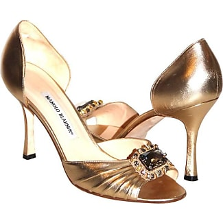manolo blahnik gold leather pumps sedaraby opentoe eu 395