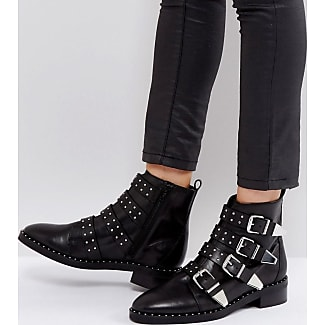 Office Academic Leather Stud Buckle Boots Black