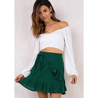 princess polly womens dandelion dust ruffle wrap skirt forest green 10