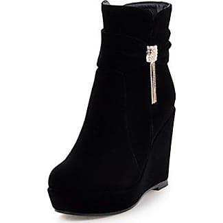 AgooLar Damen Reißverschluss Hoher Absatz Eingelegt Niedrig-Spitze Stiefel, Schwarz, 35