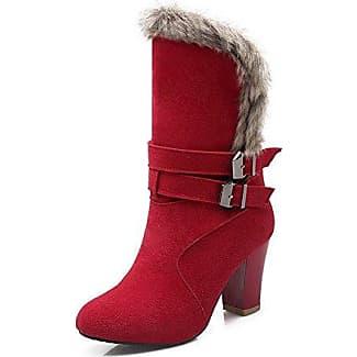 AgooLar Damen Mitte-Spitze Ziehen auf Mattglasbirne Rund Zehe Stiefel mit Beschlagene Strass, Weinrot, 35