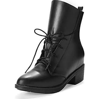 AgooLar Damen Niedriger Absatz Weiches Material Rein Schnüren Stiefel mit Metallisch, Schwarz, 39