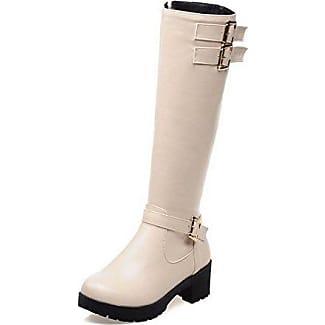 AgooLar Damen Rein PU Hoher Absatz Spitz Zehe Ziehen auf Stiefel, Cremefarben, 34