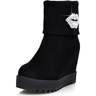 Damen Hoher Absatz Eingelegt Niedrig-Spitze Stiefel mit Metallisch, Grau, 43 AgooLar