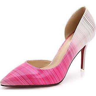 Aisun Damen Asakuchi Pointed Toe Niedrig Absatz Pumps Pink 32 EU mvr7oFYH6