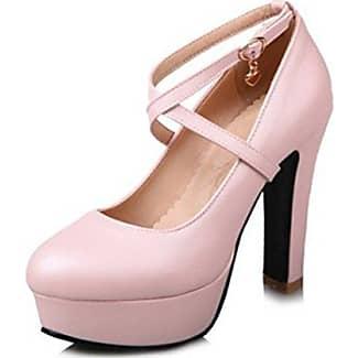 Aisun Damen Elegant Lackleder Spitz Zehe Metall Troddel Plateau Knöchelriemchen Westernabsatz Pumps Pink 34 EU nebod5